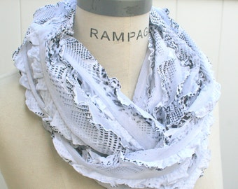 Ruffle Infinity Scarf, Black White Scarf, summer soft  Women Scarf, gift for her women, cute lightweight cowl, womens gift    - By PIYOYO