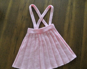ON SALE Vintage pink knit jumper / handknit jumper with suspenders / Girl's size 4 to 6