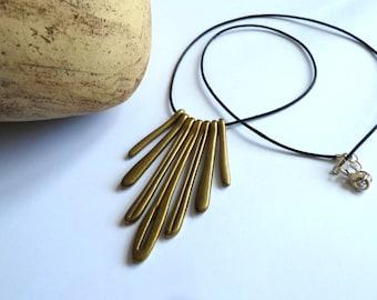 Necklace, Antique Brass Pendant Black Cord Necklace, Rustic Antique Brass Necklace, Modern Stick Necklace, Cord Necklace