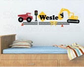 Construction Wall Decal - Transportation Decals - Dump Truck - Excavator - Personalized Name Decals - Nursery Wall Decals - Boy Decor - 44in