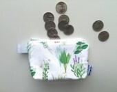 Herb Garden Divided Mini Flat Bottom Pouch / Coin Purse (handmade philosophy's pattern)