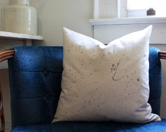 speckled pillow cover | charcoal grey on natural cotton | paint splatter pillow