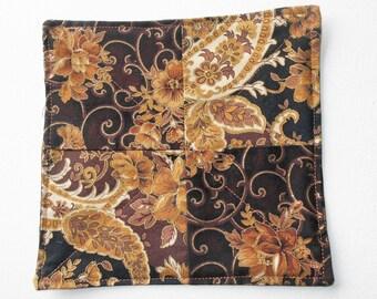 Fabric Coaster, Snack Mat, Floral Mug Rug, Mini Quilt, Fabric Doily, Candle Mat, Fabric Coaster, Coffee Cup Coaster, Drink Coaster, #153