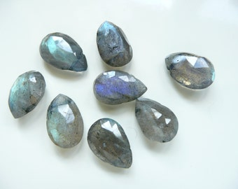4 Matched Pairs - Faceted LABRADORITE Pear Briolette - Top Drilled - Gorgeous Royal Blue and Green Shimmers - 9 x 14mm - 4 pairs