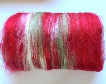 Art Batts, ROSE GARDEN, Spinning Fiber, Soft art batt, merino wool, bamboo batt, silk batt, fiber batt, spinning batts, red art batt, roving