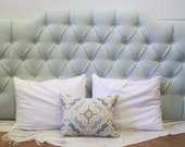 READY TO SHIP - On Sale - Tufted upholstered headboard - wall mounted - king size - pale blue - nail head trim