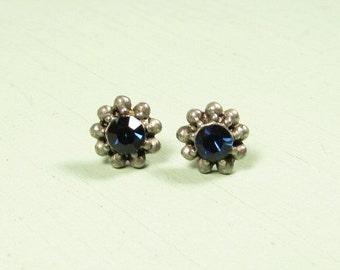 Dark Blue Pierced Earrings - Silver Tone Rhinestone Flower Stud