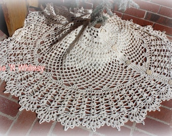 Large Victorian Lace Doily Christmas Tree Skirt Rustic Crochet Shabby Country Cottage Chic Doily Rug Ivory