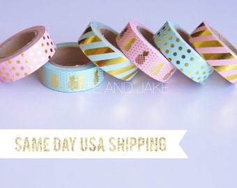 Pineapple tape Pink and gold polka dot metallic washi tape wrapping tape cute tape gold tape mint and gold washi tape