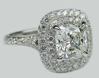 Cushion Cut Diamond Engagement Ring GIA 2.50 Ct Double Halo Eternity Platinum