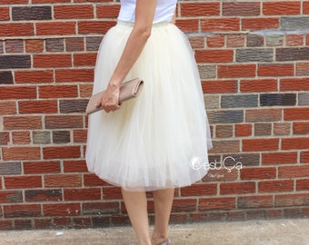 Claire - Champagne Tulle Skirt, Soft Tulle Skirt, Tea Lengh Tulle Skirt, Adult Tutu, Tea Length Tulle Skirt, Bridesmaids Skirt, Wholesale