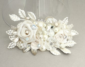 Bridal Hair Accessory- Floral Bridal Comb- Rhinestone & Pearl Comb- Wedding Hairpiece- Bridal Hair Comb- Bridal Hairpiece-Romantic Hair comb