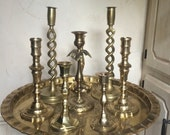 Vintage Brass Candleholders Instant Collection Large Brass Tray Brass Candlestick Candleholders Set of 8