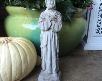 Vintage Saint Francis Statue Concrete Garden Statue Religious Catholic Statue
