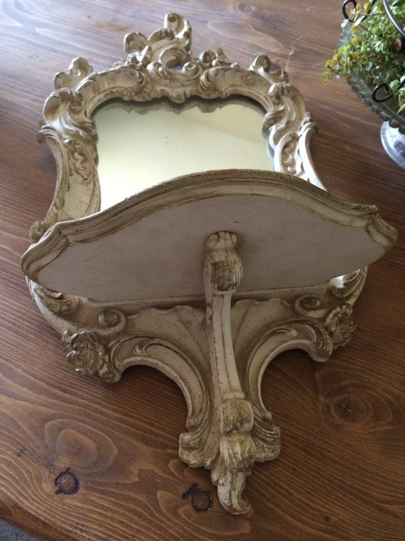 Vintage Syroco Wood French Provincial Mirror Shelf Sconce