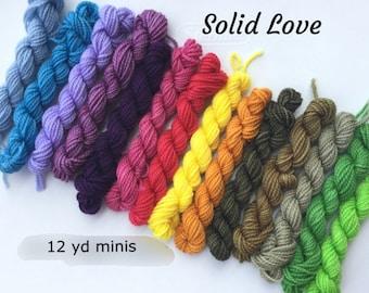 Solid Love - 14 Sock Yarn Mini Skeins - 12 yd minis