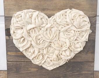 Heart sign, fabric heart, rustic pallet sign, 14x14, wedding gift, nursery decor, custom, love, heart decor farmhouse