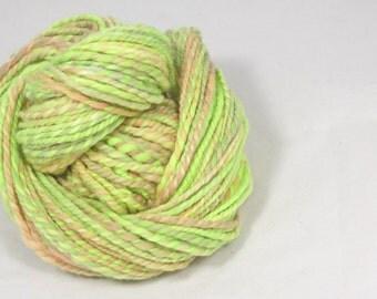 Citrus and apricot 2 ply merino Hand spun yarn.  hand dyed Pure Australian wool yarn.