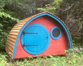 On Sale for 25% Off! Hobbit Hole Playhouse Ready to Deliver with round door and windows, custom cedar roof and siding, all natural wood.
