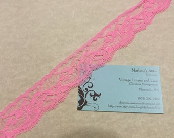 Hot Pink lace,  1 yard of 1 1/2 inch Pink Chantilly Lace trim for bridal, baby, valentines, romantic, couture by MarlenesAttic - Item 8CC