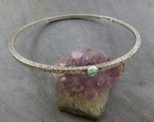 Apatite Square Patterned Wire Bangle, Oxidized Sterling Silver, Delicate Apatite Ornate Layering Bracelet