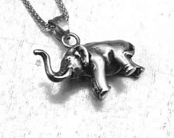Elephant Necklace, African Elephant Necklace, Stainless Steel, Elephant Necklace, Elephant Charm, Animal Charm