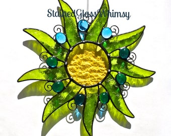 Stained Glass SUN Suncatcher, Whimsy Sunshine - Lime Spring Green, Lemon Yellow, with Deep Turquoise Glass Nuggets - USA HandMade Original