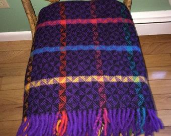 "Eskimo of Switzerland Wool Throw Blanket Fringe NWT 66"" X 53"" Soft Dream Purple"