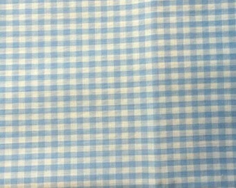 READY TO SHIP - Blue Gingham Cotton  Fabric