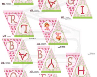 Baby Strawberry Shortcake Banner - Baby shower Instant Download, Two Banners Included