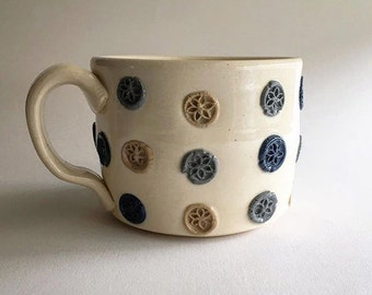 Vintage Bakelite Floral Button Coffee Mug in White Stoneware and Colored Porcelain Polkadots