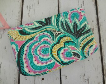 SaleExtra large Zipper bag, cosmetic bag, Amy Butler fabric, ready to ship