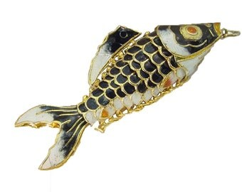 """ONE black  cloisonne articulated hand painted enameled lucky fish   4 1/4"""""""" long   5679A"""