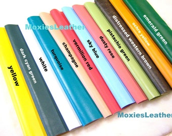 Real leather fabric - yellow leather -orange leather - blue leather -emerald green leather  - colorful leather  leather scraps ,remnants