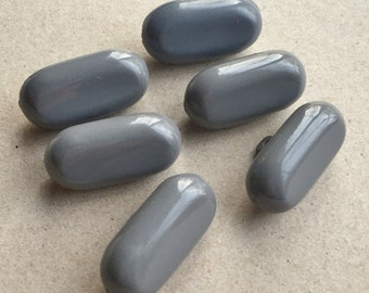 vintage eco friendly medium gray grey thick elongated oval smooth opaque shank buttons--matching lot of 6