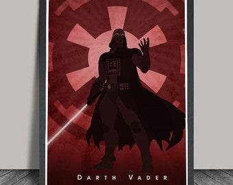 Star Wars Poster Darth Vader print Minimalist , Heroes Illustrations, Wall art, Artwork,Christmas Gift Star Wars Print Darth Vader Print