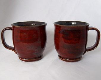 Red Stoneware Ceramic Mugs (Set of 2)