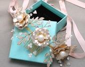 Flower Tiara, Bridal Flower Vines, Wedding Tiara With Leaves, Wedding rose Headpiece, Rhinestone Tiara, Gold Tiara,Ribbon Headband