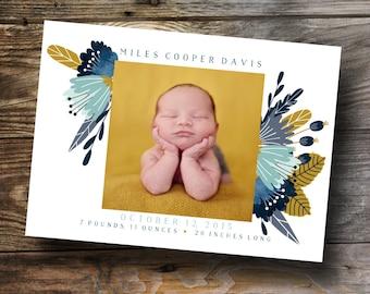 Blue floral gender neutral baby announcement design