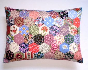 Patchwork Cushion - Hexagons in Laura Ashley and other vintage fabrics