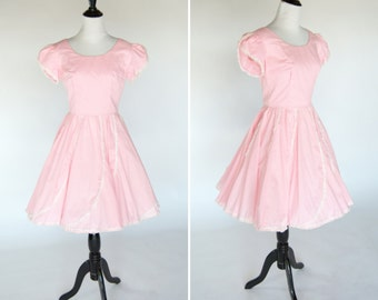 Vintage 1950's Pink Lace Swing Dress - Full Skirt Square Dance Dress - Cotton Pink Summer Rockabilly Dress - Ladies Size Small