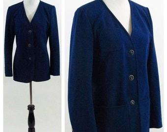 SALE Vintage 1970's Blazer - Navy Blue Long Sleeve light weight Button up Jacket - Suit Jacket - Size Medium - Size 10