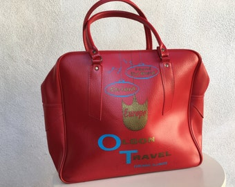 SALE Vintage kitsch carry on bag for Olson Travel red vinyl by Travelite