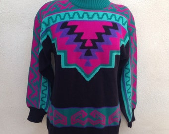 Vintage big sweater by Ossi skiwear retro 1980s southwestern black sz M