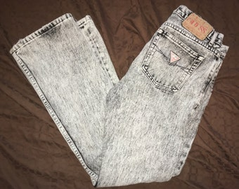 Vintage Red Label Gray Acid Wash GUESS Denim Pants 90's Size 31 - High Waist Mom Jeans Style 39046RG OBO