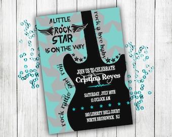 Baby shower invitation, rock n roll baby shower, boy baby shower, baby shower invites, baby shower, baby boy, baby shower invitation boy,