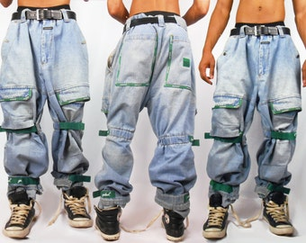Mens Denim/ Mens Pants/ Vaporwave/ Fubu/ Cyber Ghetto/ Mens Jeans/ Baggy Jeans/ Girbaud Jeans/ 90s Jeans/ 90s Hip Hop Clothing/ Cross Colour