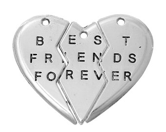 """3pc/1 set Matching """"Best Friends Forever"""" Antique Silver Pendants - BFF Necklace Pendants, Matching Necklaces, Ships from the USA -O83"""