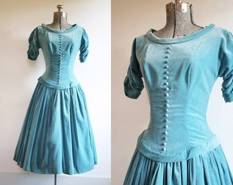1950's Turquoise Velvet Princess Dress Size Small