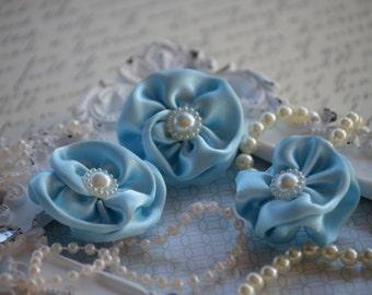 "Set of 3 Light Blue Satin Flowers 1.5"", small fabric flowers, satin ribbon flower, headband, hair accessories, flower accessories"